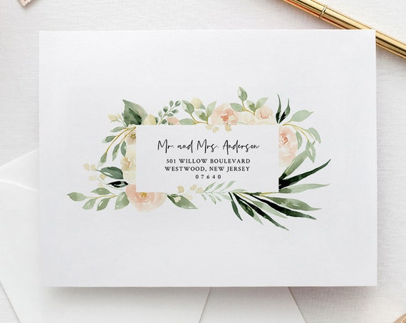 Envelope Template, Peach Floral and Greenery Wedding Address Printable, Instant Download, Editable Text, Templett, A1, A7 Sizes #076-124EN