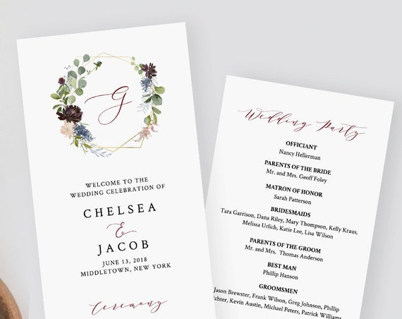 Wedding Program Template, Instant Download, Printable Order of Service, 100% Editable, Burgundy Floral & Gold Wreath, Monogram #040-213WP