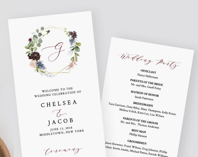 Wedding Program Template, Instant Download, Printable Order of Service, 100% Editable, Burgundy Floral & Gold Wreath, Monogram #040-213WP