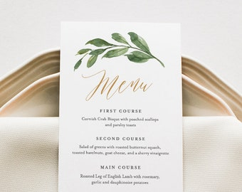 Wedding Menu Template, Greenery and Gold Wedding Menu Card, Printable DIY Menu, INSTANT DOWNLOAD, Editable Text, 5x7 & 3.65x9 #067-132WM