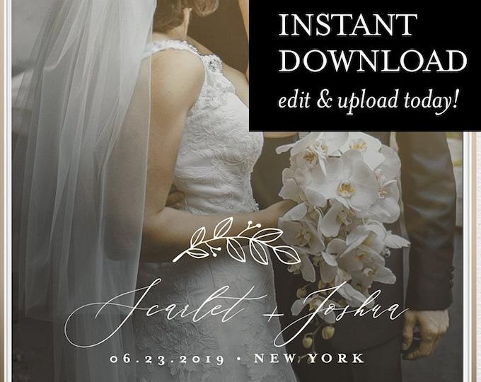 SnapChat Geofilter, INSTANT DOWNLOAD, 100% Editable, Self-Editing Template, Wedding Day Custom Filter, Modern & Rustic, Templett #052-114GF