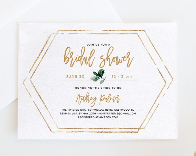 Bridal Shower Invitation, Printable Couples Shower Invite, Instant Download, 100% Editable Template, Gold & Greenery DIY Templett #050-143BS