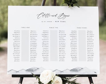 Seating Chart Template, Banquet Seating Arrangement, Watercolor Mountain, Minimalist, Wedding, Bridal Shower, Instant Download #004-247SC