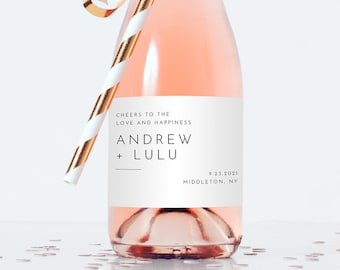Minimalist Mini Champagne Bottle Template, Editable Wedding Wine Label, Bridal Shower Favor Sticker, Instant Download, Templett #094-109ML
