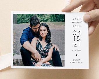 Photo Save Our New Date Postcard, Minimalist Postponed Wedding Announcement, 100% Editable Template, Instant Download, Templett, 4x6 #120PA