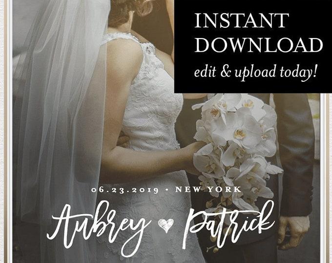 Custom Wedding SnapChat Geofilter Template, INSTANT DOWNLOAD, 100% Editable, Self-Editing Template, On Demand Filter, Templett #050-116GF