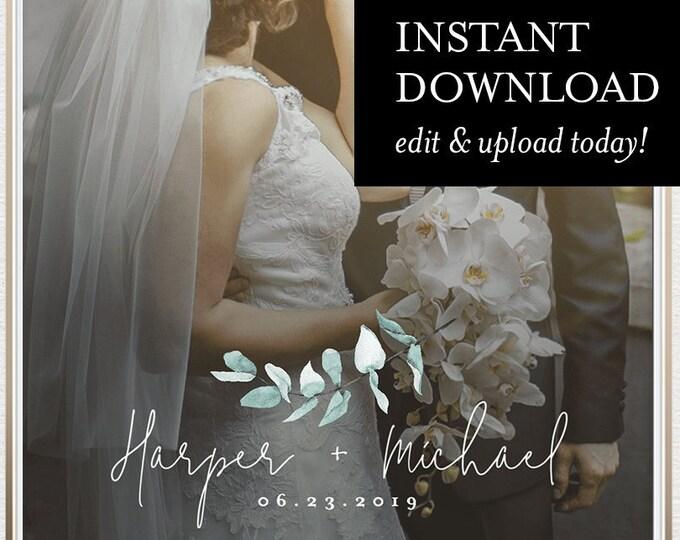 SnapChat Geofilter, INSTANT DOWNLOAD, 100% Editable, Self-Editing Template, Eucalyptus Greenery Custom Wedding Filter, Templett #049-113GF