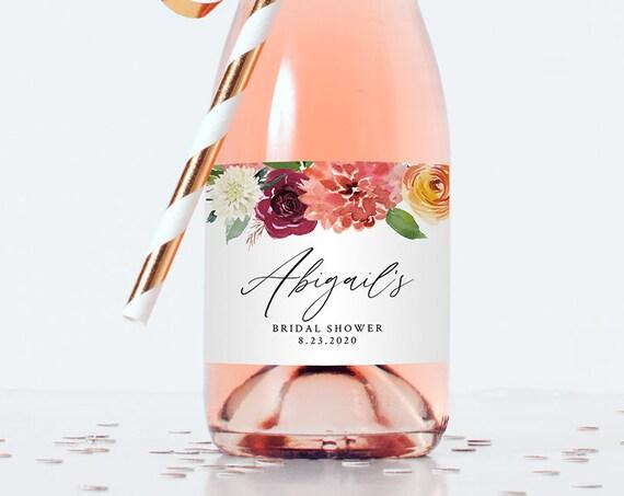 Mini Champagne Bottle Label Template, Wedding / Bridal Shower Favor Sticker, Summer Florals, Instant Download, Editable Text #002-106ML