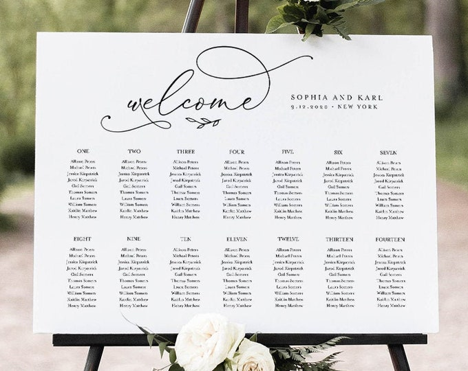 Calligraphy Seating Chart Template, Wedding Seating Sign, Alphabetical & Table Number Order, 100% Editable Text, INSTANT DOWNLOAD #092-252SC