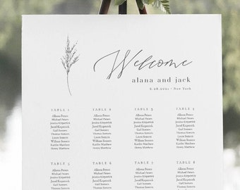 Lavender Seating Chart Poster, Printable Minimalist Wedding Seating Sign, Instant Download, Editable Template, Templett, DIY #0006C-274SC