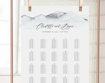 Seating Chart Template, Rustic Seating Arrangement, Watercolor Mountain, Minimalist, Wedding, Bridal Shower, Instant Download #004-286SC