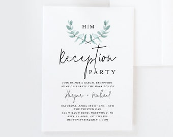 Reception Party Invitation Template, Greenery Watercolor Eucalyptus Wedding Invite, 100% Editable, INSTANT DOWNLOAD, Printable #049-106WR