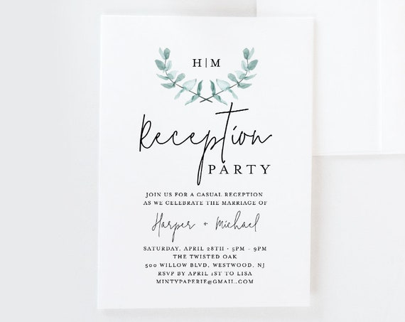Reception Party Invitation Template, Greenery Watercolor Eucalyptus Wedding Invite, 100% Editable, INSTANT DOWNLOAD, Printable #049-106WR