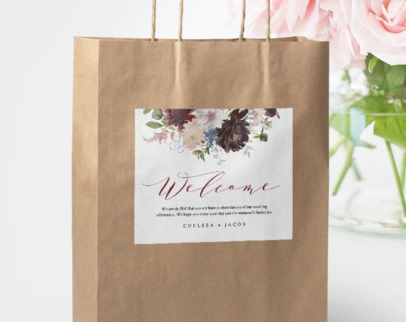 Welcome Bag Label Template, Hotel Bag Sticker, Printable Welcome Box Label, INSTANT DOWNLOAD, Boho Floral Burgundy & Gold, DIY #040-101WBL