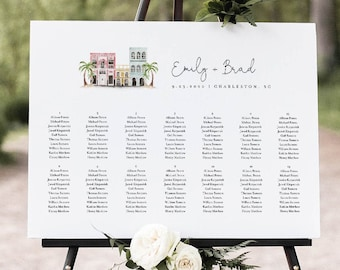 Charleston Wedding Seating Chart Template, Rainbow Row Seating Sign, Alphabetical & Table Order, 100% Editable, INSTANT DOWNLOAD #017B-267SC