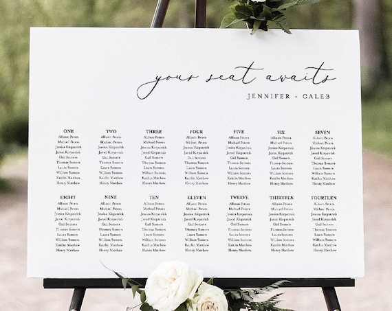 Minimalist Seating Chart Template, Wedding Seating Sign, Alphabetical & Table Number Order, 100% Editable Text, INSTANT DOWNLOAD #045-254SC