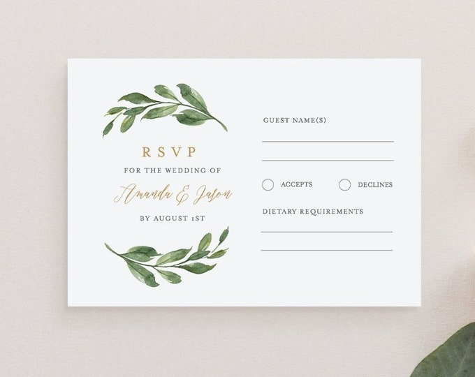 Greenery RSVP Card Template, 100% Editable Text, Printable Wedding or Bridal Shower Response Card, Instant Download, Templett, DIY #067-062