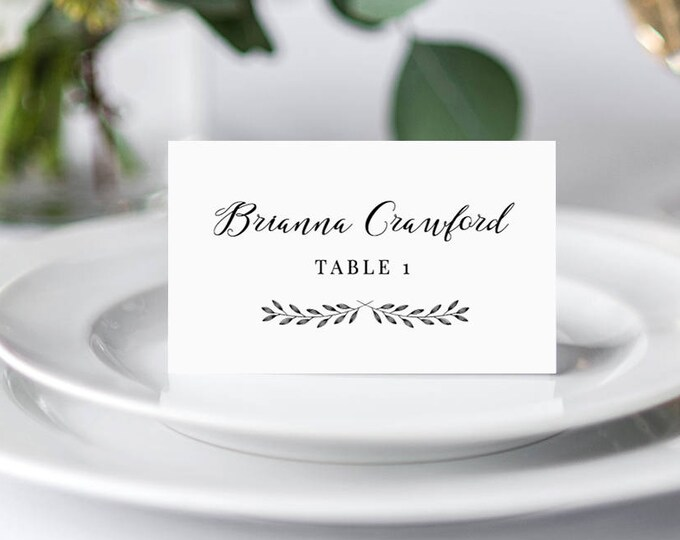 Place Card Template, Printable Wedding Escort Card, Name Card, Seating Card, Table Number, Instant Download, 100% Editable, DIY #024-108PC