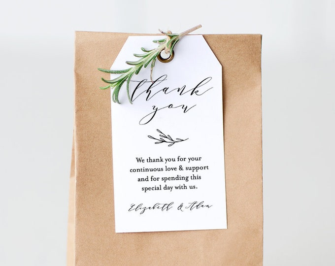 Wedding Tag Template, Thank You Tag, Bridal Shower Favor, Printable Welcome Bag Label, INSTANT DOWNLOAD, 100% Editable, Templett #037-106TG