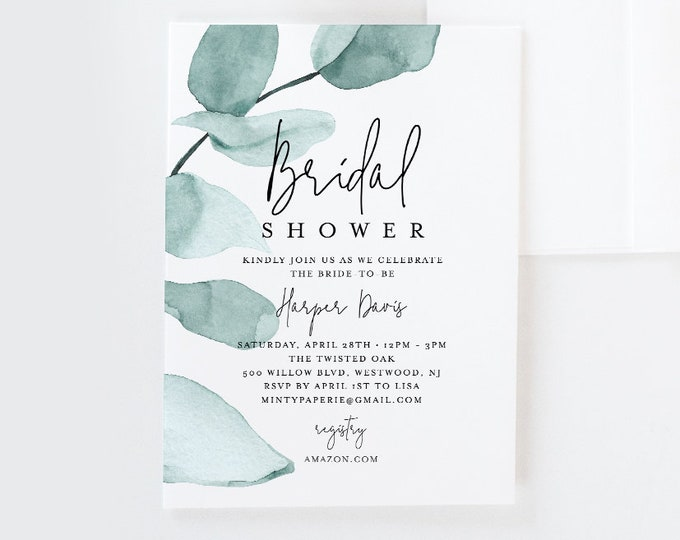 Bridal Shower Invitation Template, Delicate Eucalyptus Greenery Wedding Shower Invite, INSTANT DOWNLOAD, 100% Editable Text, DIY #049-138BS
