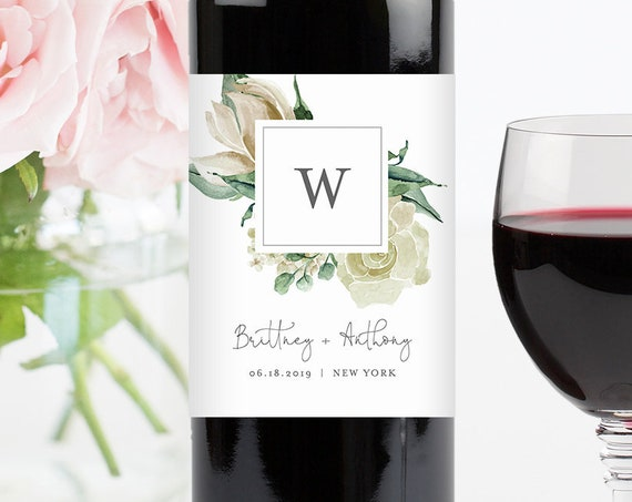 Monogram Wine Bottle Label Template, Printable Greenery Wine Sticker, INSTANT DOWNLOAD, 100% Editable Text, Wedding Favor, DIY #057-110WL