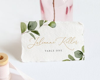 Wedding Place Card Template, Printable Escort / Seating Card, INSTANT DOWNLOAD, 100% Editable Text, Greenery, Flat & Folded, DIY #056-121PC