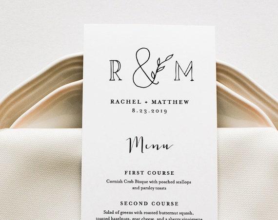 Printable Wedding Menu Template, INSTANT DOWNLOAD, 100% Editable Text, Dinner Menu Card, Rustic Monogram, Kraft Paper, 2 Sizes #042-129WM
