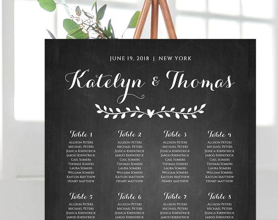 Wedding Seating Chart Template, Editable, DIY Rustic Vine Chalkboard Wedding, Printable Seating Plan Poster, Instant Download #NC-204SC