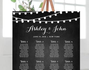 Wedding Seating Chart Template, Instant Download, String Light Chalkboard, Custom Seating & Table Plan, 100% Editable, Templett #014-206SC