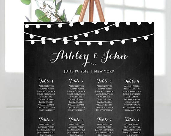 Wedding Seating Chart Template, Instant Download, String Light Chalkboard, Custom Seating & Table Plan, 100% Editable, Templett #014-206SC