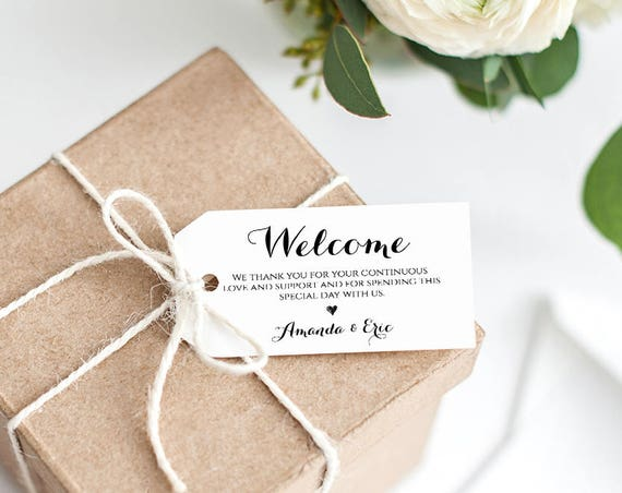 Wedding Welcome Tag Printable, Welcome Bag, Custom Wedding Favor Tag, Thank You, 100% Editable Template, Instant Download, DIY #NC-103FT