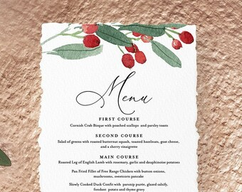 Menu Template, Winter Wedding Menu, Christmas Dinner Menu, Printable DIY Holly Menu, INSTANT DOWNLOAD, Editable Text, 2 Sizes #071-133WM