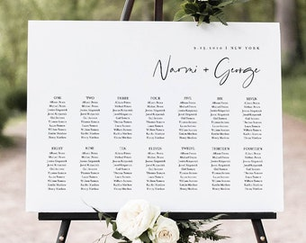 Minimalist Seating Chart Poster, Printable Modern Wedding Seating Sign, Instant Download, Editable Template, Templett, US & UK #096-259SC