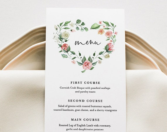 Boho Menu Template, Printable Wedding Dinner Menu Card, Floral Heart Wreath, INSTANT DOWNLOAD, 100% Editable Text, Templett, DIY #058-128WM