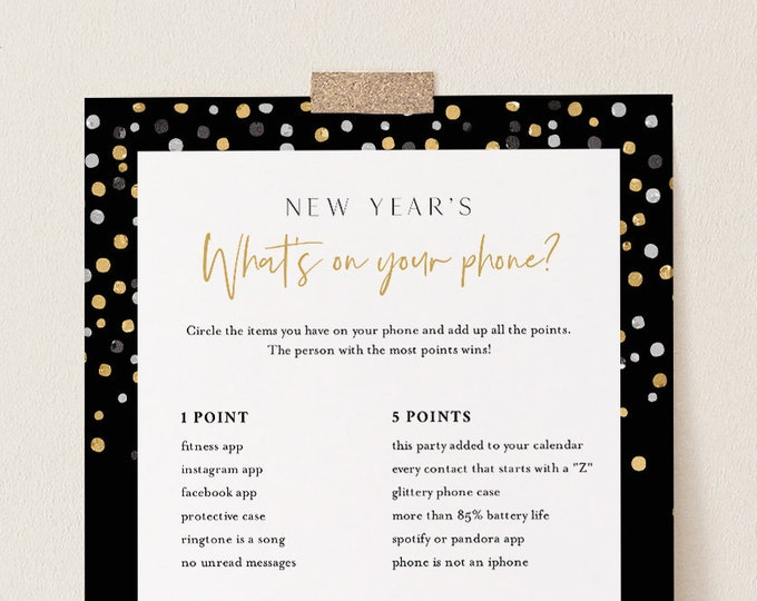 New Years What's on Your Phone Game, Printable 2021 New Years Eve Party Game, Activity, Editable Template, Instant Download, Templett 104NYG