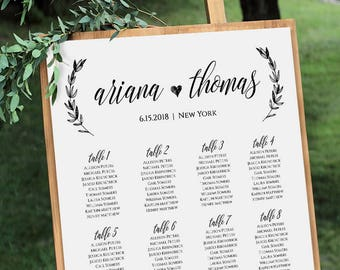 Wedding Seating Chart Printable Plan Poster Table Assignment Editable Template Modern Calligraphy Instant Download 023 207SC