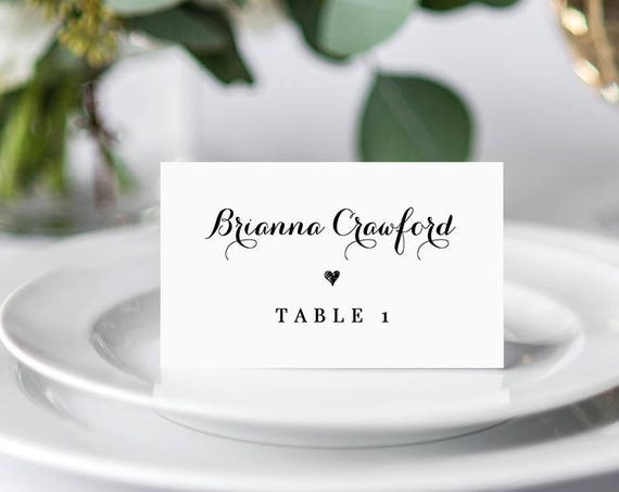 Wedding Place Card Template, Printable Escort Card, Name Card, Seating Card, Table Number, Instant Download, 100% Editable, Templett #106PC