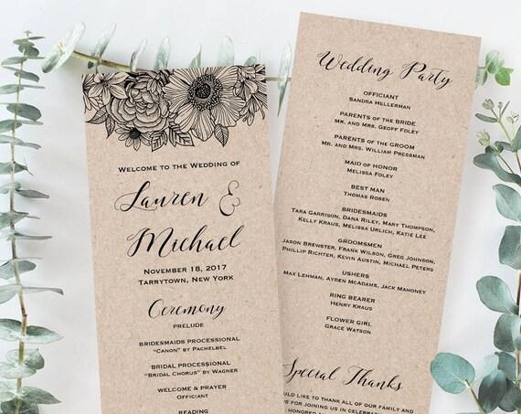 Wedding Program Template, Order of Service, Printable Catholic Ceremony Program, Instant Download, 100% Editable, Floral, Kraft #025-207WP