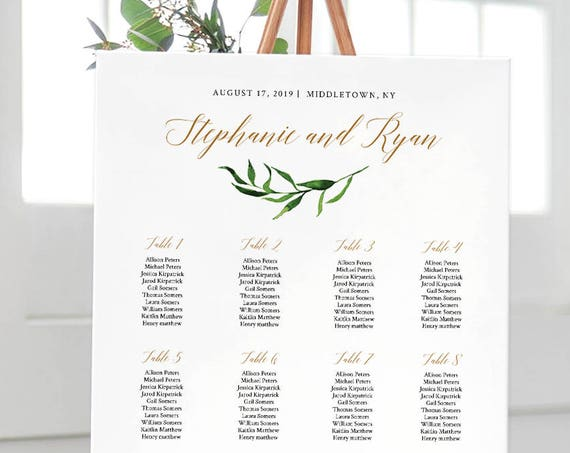 Greenery Seating Chart, Watercolor Wedding Seating Plan, Editable Template, Instant Download, Printable, Templett, 18x24, 24x36 #013-202SC