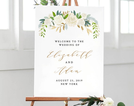 Wedding or Bridal Shower Welcome Sign, Printable Poster Template, INSTANT DOWNLOAD, 100% Editable, Floral, Greenery, Gold, Boho #021-115LS