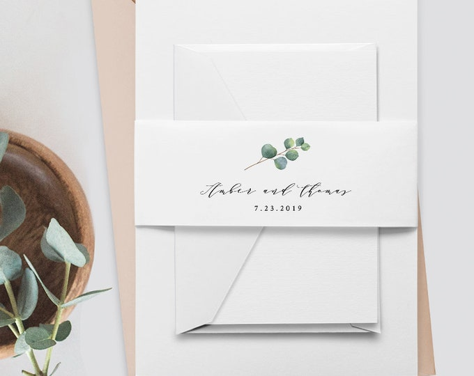 Eucalyptus Belly Band Template, Instant Download, Printable Monogram Belly Band, 100% Editable Text, Wedding Invitation Wrapper #036-109BB