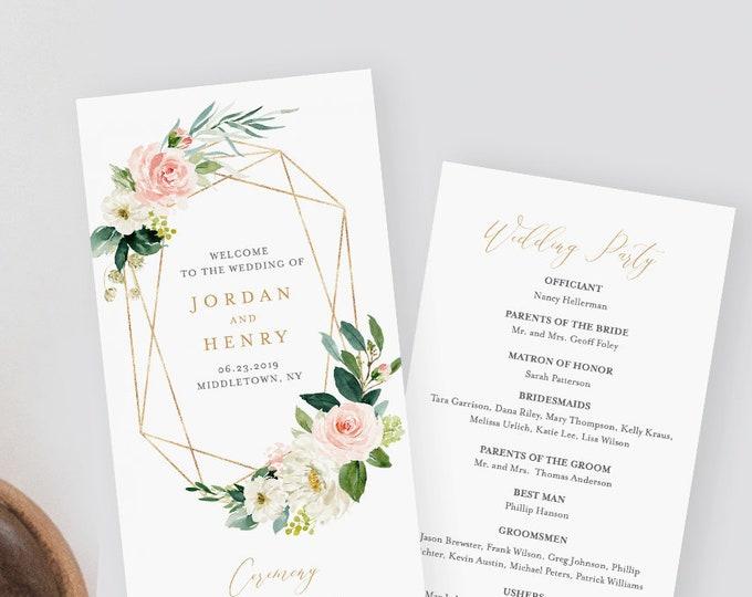 Wedding Program Template,  Instant Download, Printable Order of Service, 100% Editable Text, Floral Geometric Gold Frame, DIY #043-212WP