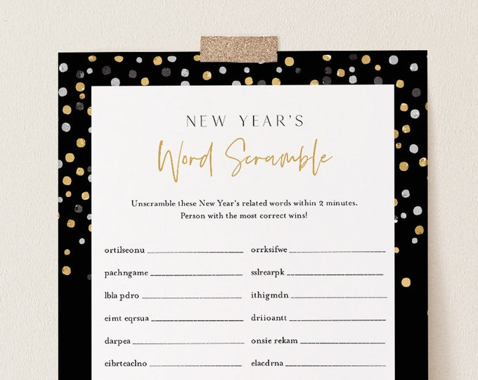 New Years Word Scramble Game, Printable New Years Eve Party Puzzle, 2021 NYE Activity, Editable Template, Instant Download, Templett #105NYG