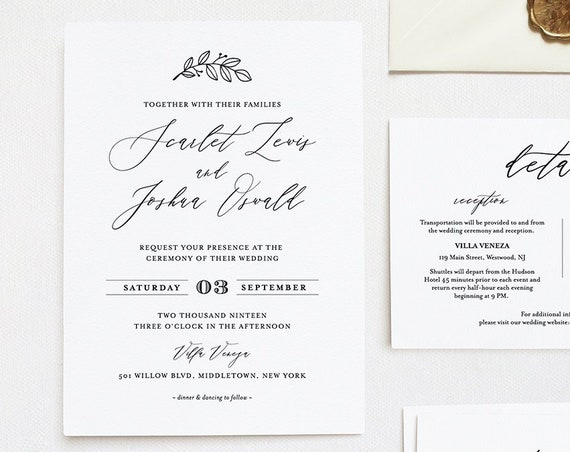 Self-Editing Wedding Invitation Set, INSTANT DOWNLOAD, 100% Editable Template, Printable Romantic Invite, RSVP & Detail, Templett #052A