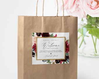Welcome Bag Label Template, Printable Wedding Bag Sticker, Welcome Box Label, INSTANT DOWNLOAD, Editable Text, Boho Florals, DIY #062-108WBL