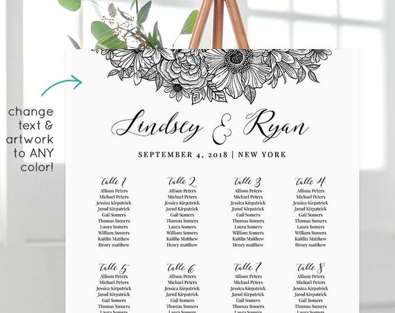 Wedding Seating Chart Template, Printable Seating Arrangement, Seating Plan, 100% Editable, Instant Download, Floral, 18x24 24x36 #025-217SC