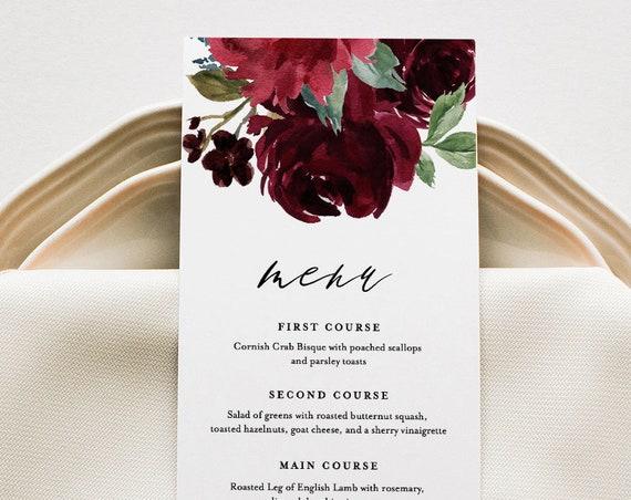 Wedding Menu Template, Boho Floral Wedding Menu Card, Printable DIY Dinner Menu, INSTANT DOWNLOAD, Editable Text, 5x7 & 3.65x9 #062-131WM