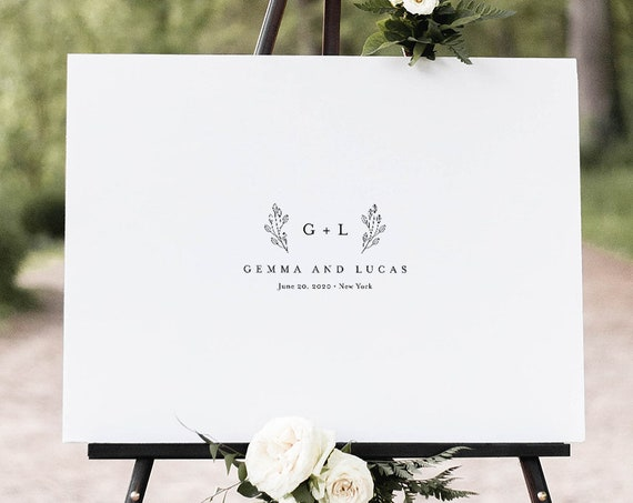 Guestbook Alternative Poster, Minimalist Wedding Guest Book Sign, 100% Editable Template, Instant Download, Printable, Templett #095-103GA