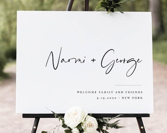 Modern Welcome Sign, Printable Minimalist Wedding or Bridal Shower Sign, Clean, Instant Download, Editable Template, Templett #096-195LS