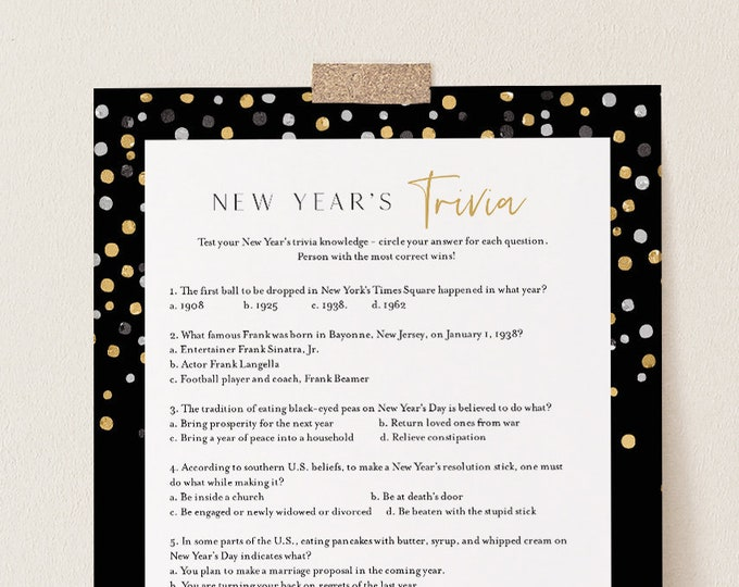 New Years Trivia Game, Printable New Years Eve Party, 2021 NYE Game, Fun Activity, Editable Template, Instant Download, Templett 5x7 #103NYG